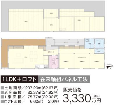 1LDK+ロフト在来軸組パネル工法