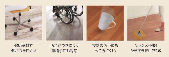 強い基材で 傷がつきにくい 汚れがつきにくく 車椅子にも対応 食器の落下にも へこみにくい ワックス不要! から拭きだけでOK